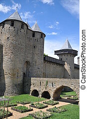 Carcassonne - View of the old bridge of Carcassonne and the...
