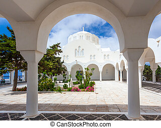 Orthodox Metropolitan Cathedral Fira - The garden at Fira...