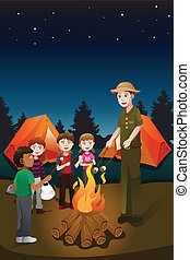 Kids in summer camp - A vector illustration of kids and...