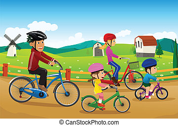 Family going biking together - A vector illustration of...
