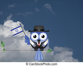 Israeli Patriot - Comical Israeli flag waving bird Patriot...