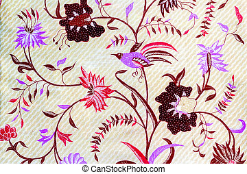 Brid and floweron batik fabric - Closeup brid and floweron...
