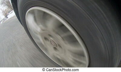 Rubber tire tread of car wheel, close-up