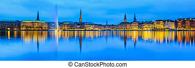 Panorama of Alster Lake in Hamburg - Panorama view across...