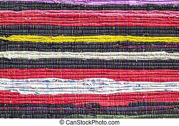 Fabric colourful alternation pattern - Closeup fabric...