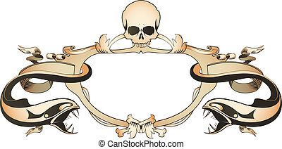 Decorative frame with skull, bones,