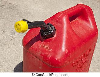A red  five gallon fuel jug.