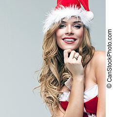 mujer, santa, Claus, ropa