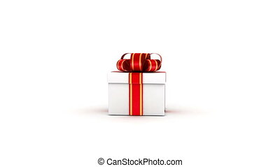 Opened white gift box - Gift box with red ribbons opened on...