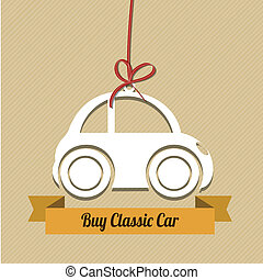 classic car with red ribbon on light brown background