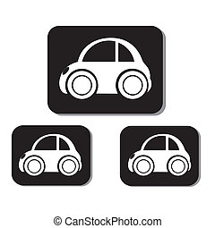 classic car icons in black squares on white background