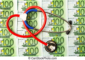 stethoscope and euro bills symbol photo for costs in health...