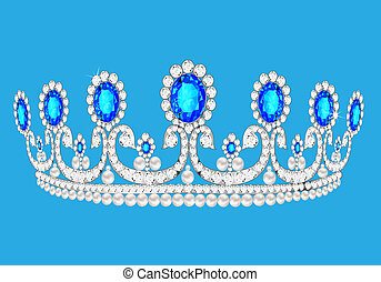 beautiful diadem feminine wedding on we turn blue background...
