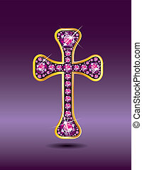 Christian Cross in Gold with Garnet - Stunning Christian...