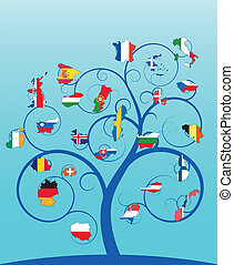 spiral tree europe - illustration of blue spiral tree with...