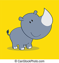 rhino with shadow on yellow background