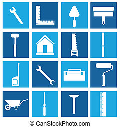 construction icons on light and dark blue squares