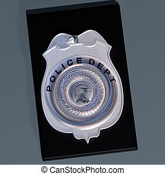 Police badge - Detailed illustration of a police shield on a...