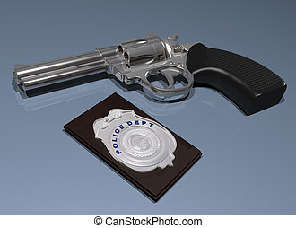 Police badge and gun - Illustration of a police badge and...