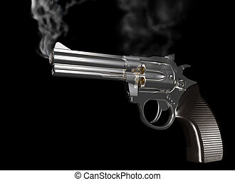 Smoking gun - Illustration of a gun that has just been fired...