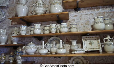 Trulli interior - traditional homes in Alberobello, Italy -...