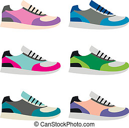 Sneakers - Set of isolated vector sneakers