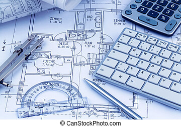 a house plan - an architects blueprint for the construction...