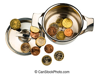 money pot - a saucepan with a few euro coins photo icon on...