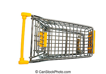 shopping cart against white background, symbol photo for...