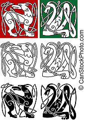Abstract animals in celtic style