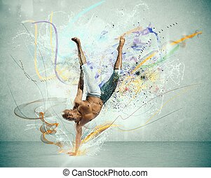 Modern dancer - Modern dance with colorful motion effect