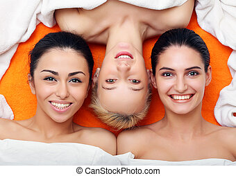 Girls in in SPA center - Portrait of Multi-Ethnic Group...