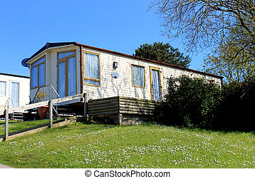 Caravan in trailer park - Exterior of static caravan in...