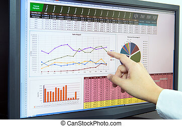 Business analysis - Businessman analyzing financial data on...