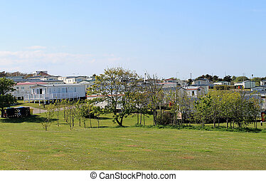 Caravan or trailer park - Scenic view of caravan or trailer...