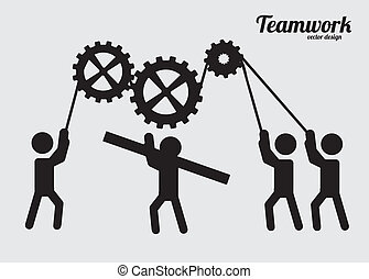 teamwork design over gray background vector illustration