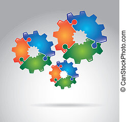 gears puzzle over gray background vector illustration