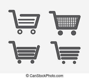 shopping carts types over red background vector illustration