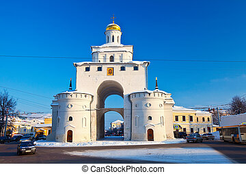 Golden Gate at Vladimir in winter Russia