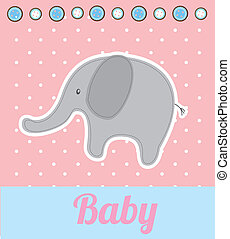 baby elephant over pink background vector illustration