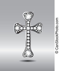 Christian Cross with Diamonds