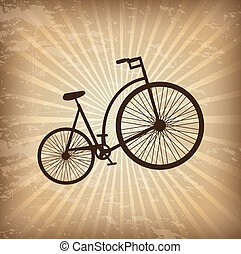 Bicycle - Antique bicycle over vintage background vector...