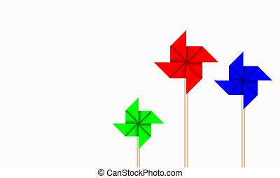 Paper Windmill - vector of origami windmill on white...