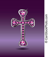 Christian Cross with Garnet - Stunning Christian Cross...