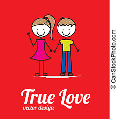 true love card over red background vector illustration