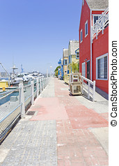 Fishermans Village stone walkway, Marina Del Rey, California...