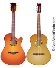Acoustic guitars - Isolated image of acoustic guitars on...