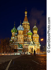 Intercession Cathedral in winter night. Moscow -...