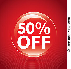 percent off label over red background. vector illustration