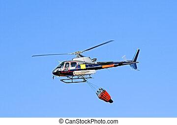 fuego, luchador, helicóptero, waterbag